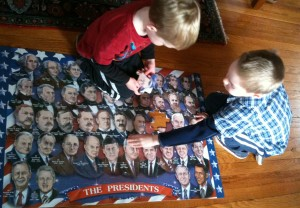 To gain some historical perspective, the boys completed this puzzle of all 44 presidents before the inauguration ceremony began.