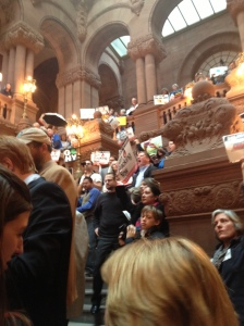 "Activists gathered on the ""million dollar staircase."""