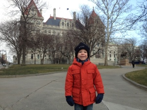 Levon on his first trip to our state capital.  He spent the day with his father, working to save mother earth.