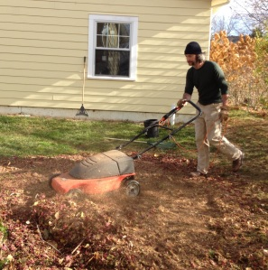 Eric mows most of our leaves into awesome mulch.